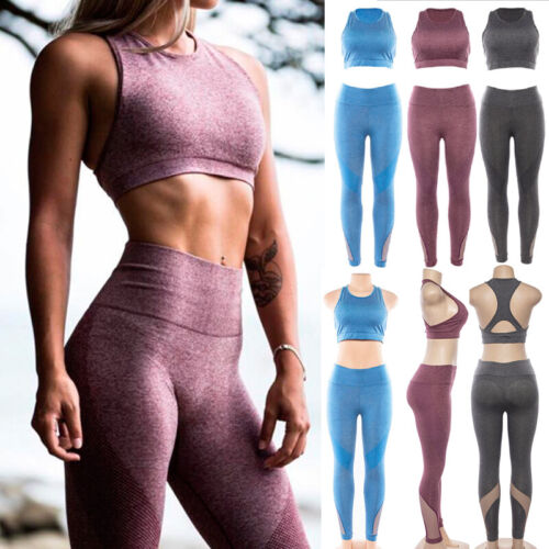 Damen Fitness Yoga Gym Set Sportbekleidung Bra + Leggings Pants Workout Running