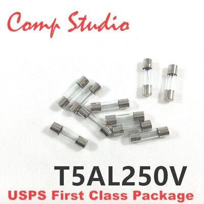 10Pcs T5AL250V 5A 250V Axial 5 Amp SLOW Blow Fuse Time Delay 3.6x10mm