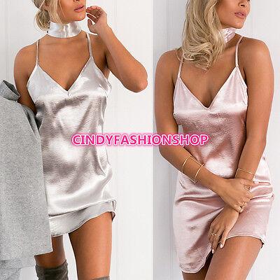 Summer Elegant Backless V-Neck Halter Satin Slip Sexy Mini Women Short Sundress  - Halter Satin Shorts