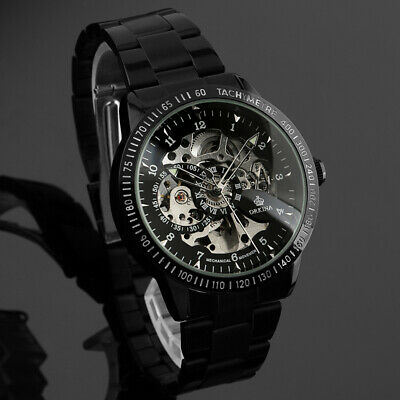 Mens Watch Mechanical Black Dial Stainless Steel Case Self-winding Analog Luxury Black Analogue Dial Watch