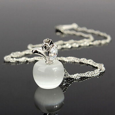 Jewellery - 925 Silver WHITE OPAL Apple Pendant Singapore Chain Necklace Jewelry Gift