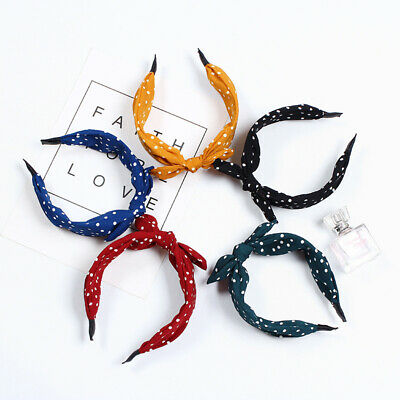 WOMEN POLKA DOT BOW KNOT HEADBAND HAIRBAND WIDE VINTAGE HEADWRAP HAIR HOOP BLING