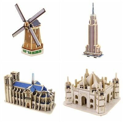 3D Wooden Puzzle Great Architecture Assembly Building Models Kits Toy Kids Girls - Architecture Model Kits