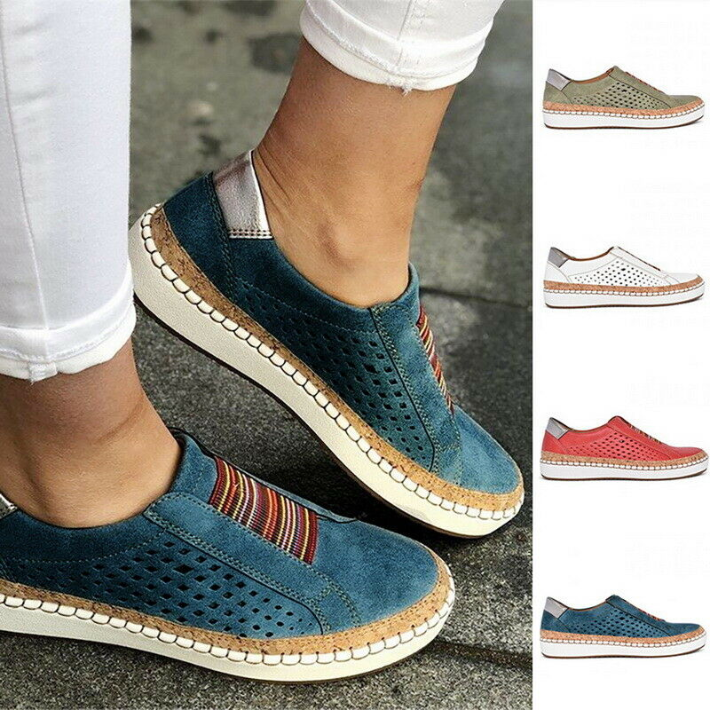 Women Slide Hollow Out Shoes Round-Toe Comfy Breathable Casual Sneakers Shoes