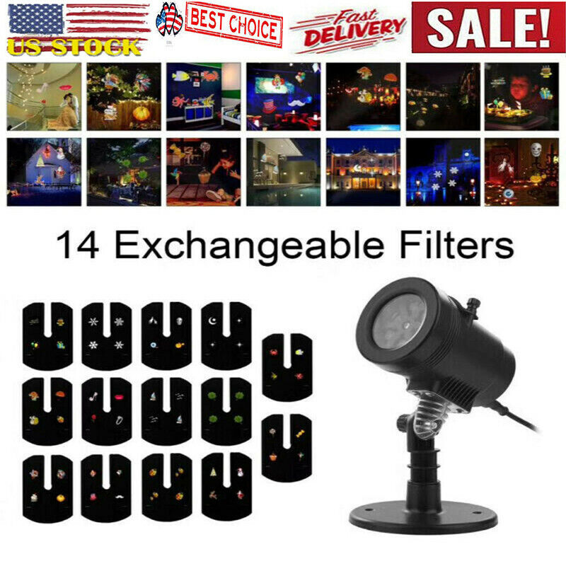 R/&G Laser Fairy Light Projection Projector Christmas Outdoor Landscape LED Lamp~