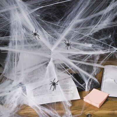 Halloween Spinnennetz Spinnweben mit 3 Spinnen Deko flammhemmend ausgerüstet
