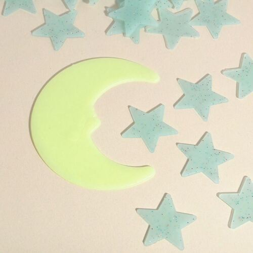 Blue 100 3D Wall Ceiling Glow In The Dark Stars with Moon Kids Plastic Stickers 2