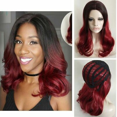 US Fashion Black Red Mix Short Curly Wavy Women Lady Cosplay Hair Wig Full Wigs - Black Red Wig