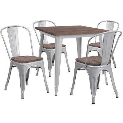 31.5 Square Silver Metal Restaurant Table Set With Walnut Wood Top And 4 Chairs