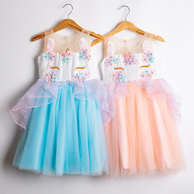 Unicorn Costume Girls Tutu Dress Set Princess Cosplay Dresses Kids Party Wear ()