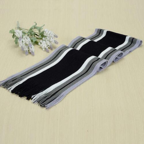 Unisex Men Winter Warm Striped Shawl Scarf Soft Wrap Fringe Tassel Long Scarves