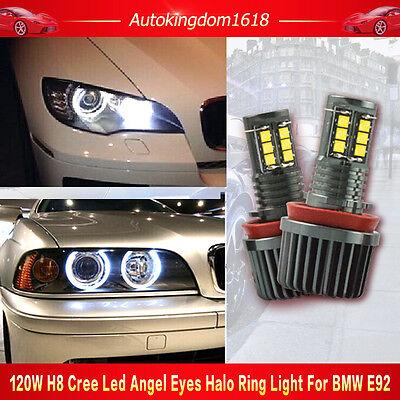 CREE LED 240W H8 Xenon 6000k Angel Eye Halo Ring Bulb For BMW E60 E70 E90 E92 US