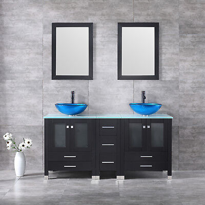 "60"" Bathroom Cabinet Vanity Tempered Clear Glass Sink & Top w/Mirror Faucet New"