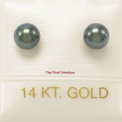 AAA 5-5.5mm High Luster Black Cultured Pearl Stud Earrings 14k Yellow Gold TPJ