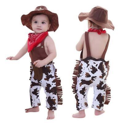 3PCS Baby Boy Cowboy Western Sheriff Fancy Costume Outfit + Hat Outfit Set 3-18M - Western Cowboy Outfits