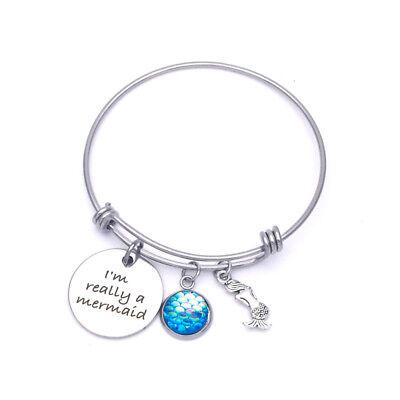 Mermaid Bracelet Tiny Fish Scale Charm Im Really A Mermaid Message Silver Blue