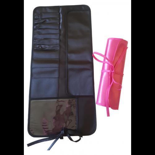 Porta pennelli make up beauty case chiudibile tessuto nero fucsia 13 scomparti d