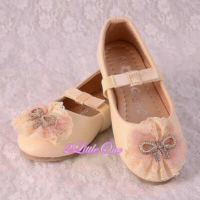 Lace Ballet Slipper Shoes Ivory US Size 8.5-1.5 Flower Girl Pageant Party GS014