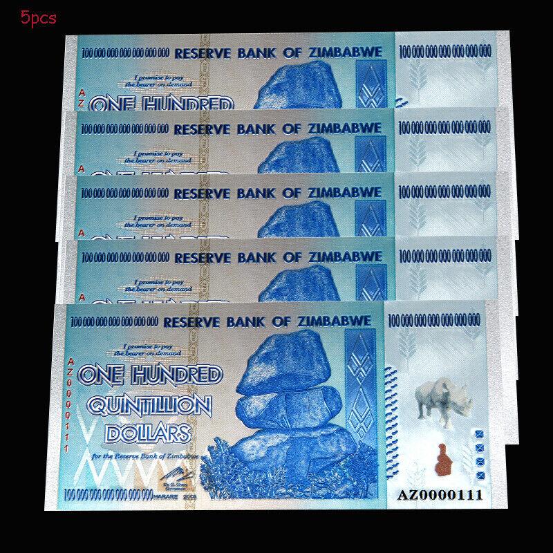 5PCS Rhinoceros Zimbabwe 100 Quintillion Dollars Banknotes Paper Bill Collection