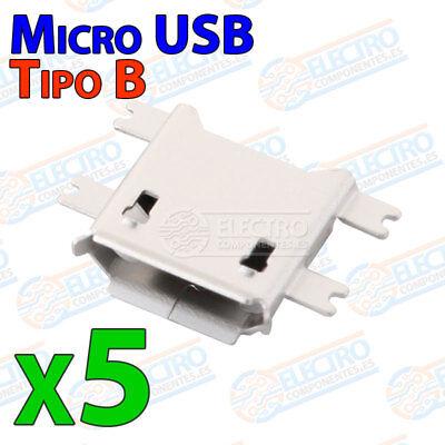 5x Conector USB MICRO B Hembra SMD femele socket connetor pines planos