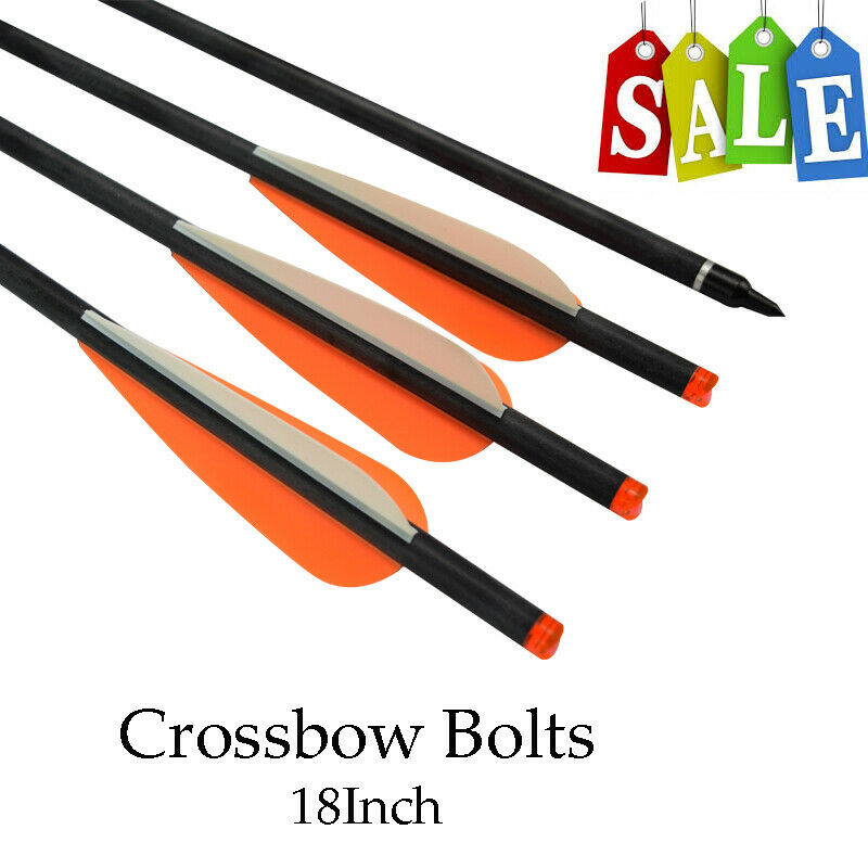 """Archery Crossbow Arrows 18 Inch with 4"""" Vanes and Replaceable Field Points 6P"""