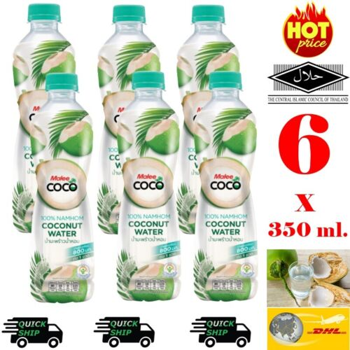 6 x 350ml.Malee Coco 100%Natural Fresh Coconut Water No Sugar Added DHL Shipping