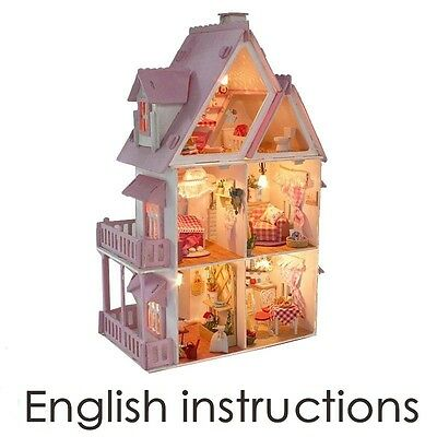 Large Dream Villa Room DIY Wood Dollhouse all Furniture including 3D LED light
