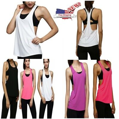 US Women Sports Vest Fitness Exercise Gym Yoga Tank Singlet Loose Tops Workout (Singlet Womens)