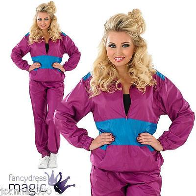 Ladies Adults 1980s 80s Retro Shell Suit Tracksuit Scouser Fancy Dress Costume