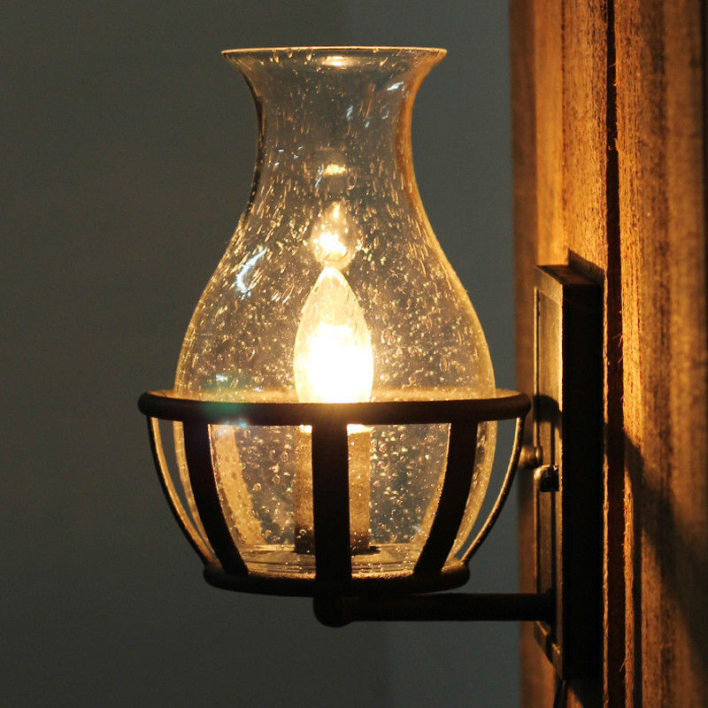 Rustic Industrial Wall Sconce Lamp Seedy Glass Candle Wall L
