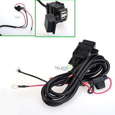 12V Dual USB Motorcycle Mobile Phone Power Supply Port Socket Charger Waterproof