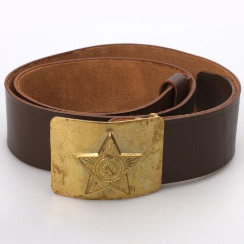"42"" Soviet Russian Military Genuine Leather Belt Star Buckle Original Vintage"