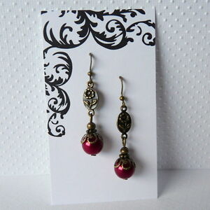 Victorian Art Nouveau Downton Abbey Style Flower Red Pearl Bronze Earrings