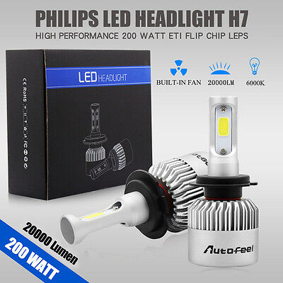 2pcs 200W 20000LM H7 PHILIPS LED Lamp Headlight Kit Car Beam Bulbs 6000K White