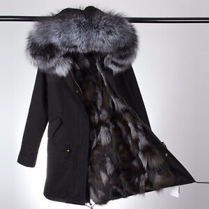 Womens Exquisite Canvas Parka w/ Raccoon & Fox Fur Trim & Lining
