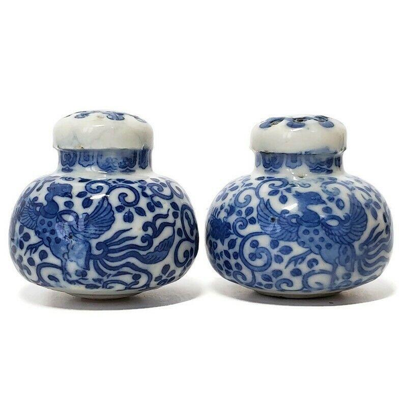 """Antique Vintage Flow Blue on White Porcelain 2"""" Salt and Pepper Shaker Set Birds"""