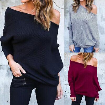 Women Off Shoulder Bardot Jumper Tops Ladies Long Sleeve Winter Sweater Pullover