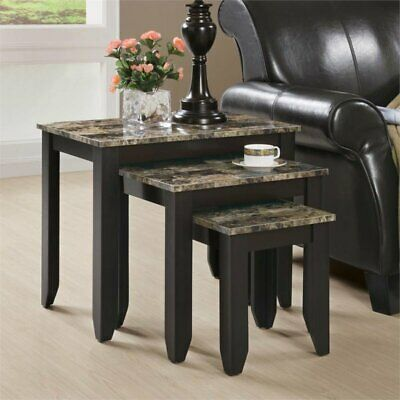 Pemberly Row 3 Piece Faux Marble Top Nesting Table Set in Cappuccino Cappuccino Nesting Table