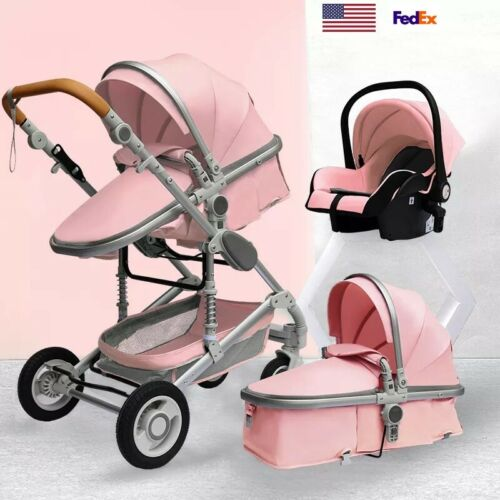 Pink Luxury 3 in 1 Baby Stroller For Newborn Girls Infant Travel System Car Seat