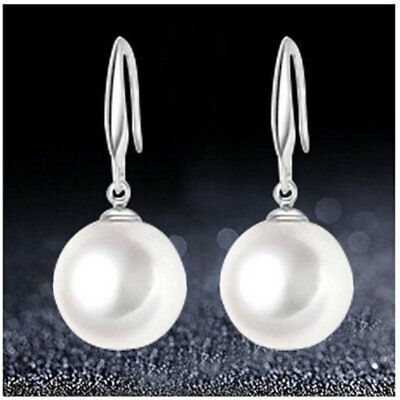925 Sterling Silver Plated White Pearl Drop Dangle Pearl Earrings For Women Bead Silver Plated Earrings
