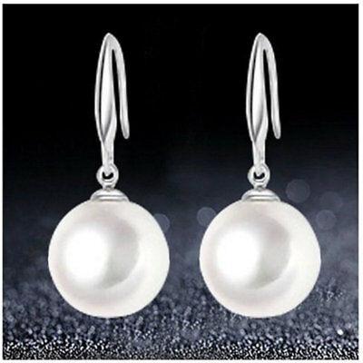 Bead Silver Plated Earrings ( 925 Sterling Silver Plated White Pearl Drop Dangle Pearl Earrings For Women )