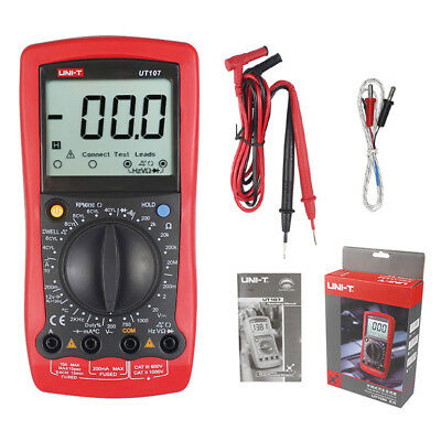 Automotive Multimeter Uni-t Ut107 Lcd Dmm Acvdcv Tester Tach Dwell Temp Rpm Tes