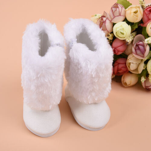 Cute White Boot Shoes For 18 Inch Doll Party Clothing Tool f