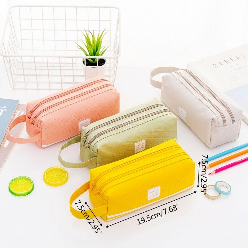 26f0a1547973 Details about New Large Capacity Canvas Pencil Case Bag Pen Box Zipper Bags  Easy to Carry-UK