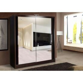 New 2 Door Mirror Sliding 90/120/150/180/203cm Wardrobe with LED in Black/Walnut/Wenge/Whte/Oak/Grey