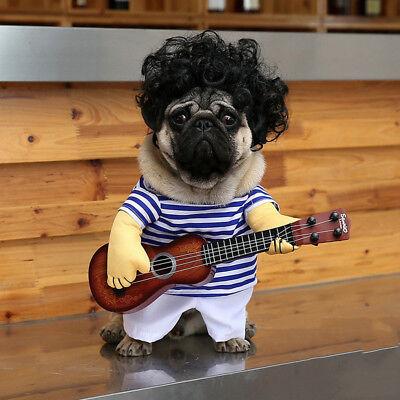 Fashion Pet Fun Guitar Dog Striped Dress Christmas Costume Puppy Costume Pet Pug