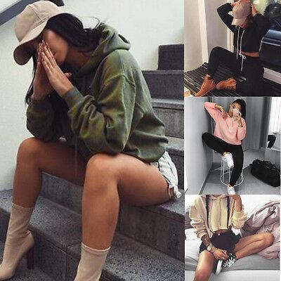 Women Fashion Hoodie Loose Ladies Pullover Sweatshirt Jumper Workout Crop Tops