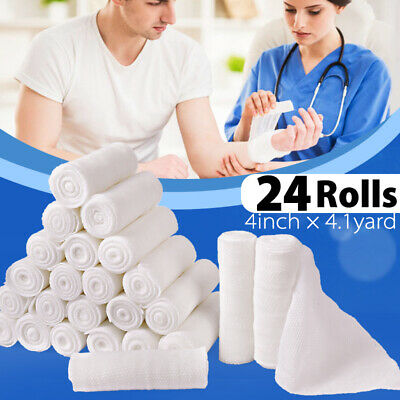 4'' Gauze Roll Bandage Sterile Stretch Medical Tape First Aid Wound Care 24 Pack