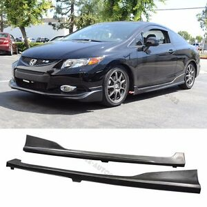 Fit 12-15 Honda Civic Side Skirt Pair H-Style PU Material 2DR Coupe