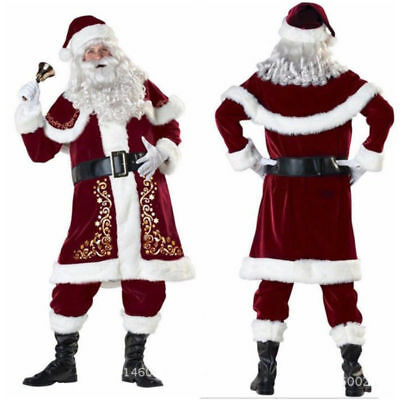 Mens Deluxe Regal Plush Santa Clause Costume Suit Father Christmas Fancy Dress](Santa Suites)